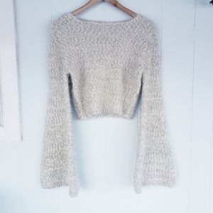 Endless Rose Small Plush Silver Cropped Sweater